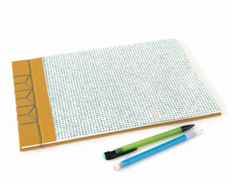 A4 Hardback Stab Bound Sketchbook or Journal - Mustard Yellow Bookcloth, White & Blue Lokta Paper and Blue Linen Thread