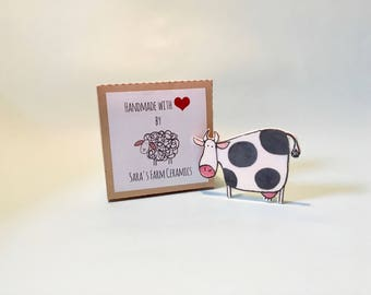 Cow Brooch, Handmade Ceramic brooch, Ceramic jewelry, Ceramic and Pottery, Gift