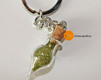 Good luck keyring in glass and UV resin ' ampoule '