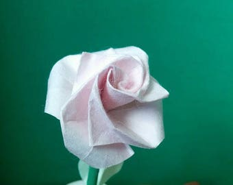 Small pink color rose with leaves (F_019) genuine origami