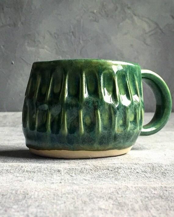 Sea foam Green Carved Mug
