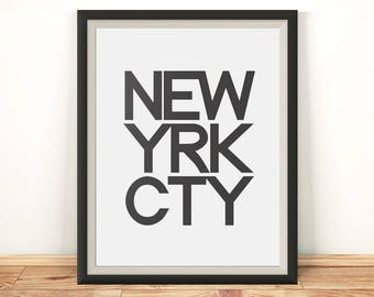 New York poster - Large wall art - New York print - New York City print - Large poster - New York printable - City typography - NYC poster
