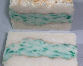 Green and White Layered with Gold Mica soap