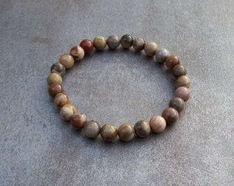 Petrified Wood Bracelet. Beaded Bracelet. Gemstone Bracelet. Womens Bracelet. Mens Bracelet. Stacking Bracelet • Gifts