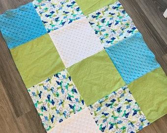 Child-Sized Blanket- Dinosaurs/Blue and White Minky
