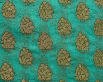 Pine Green and Golden Flower Brocade Silk Fabric by the yard