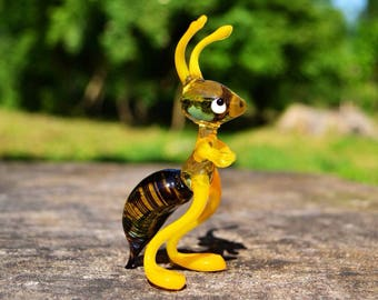 Yellow Glass ant glass animal collectible figurine doll house ant animal ant in glass gift child girl gift for daughter for her glasswork