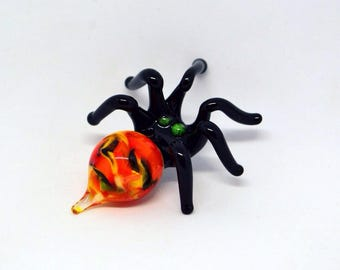 Orange Glass spider figurine animals glass spider miniature spider art black glass spider toy murano spiders glass animals tiny small gifts