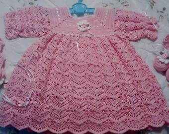 Baby Blanket,Party Dress, Bonnet and Booties Pink and White/