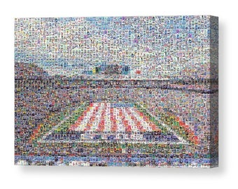 Unique, Large Buffalo Bills Mosaic Art Print of New Era Field with 262 Unique Player Card Images.  All the Great Past & Present Stars.