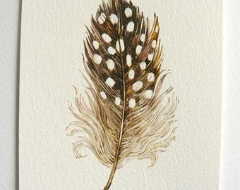 Watercolor Feather Painting  Feather Watercolor  Original Painting  Brown Feather Painting Feather watercolour