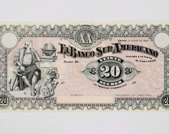 1920 Ecuador 20 Sucre Uncirculated Bank Note Pick-S253R