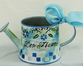"Small Metal Watering Can ""BLUE FLEURS"" from SPRING 2018"
