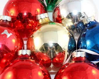 Vintage Christmas Tree Ornaments - Round Glass Ornaments - Assorted Christmas Ornaments