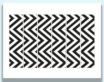 Printable Napkin Rings, Paper Napkin Rings, Black and White, Chevron Pattern, Modern, Printable Party Decorations, Napkin Bands, Paper