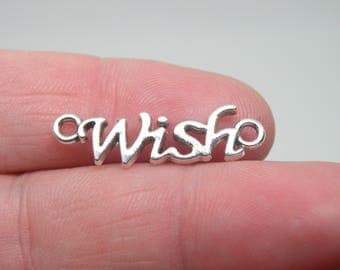 """10 Silver Tone """"Wish"""" Charms or Connectors, B-026"""