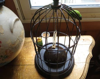 Bird cage with birds swing candle votive
