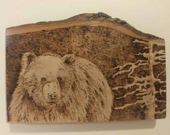 Wood burning art, wood painting, bear painting, gift for him, natural gift, handmade wood art, wooden art, pyrography art, burned painting