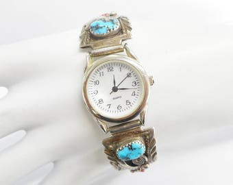 Aurthur Yazzie Native American Sterling Silver Turquoise Watch Works! #3121