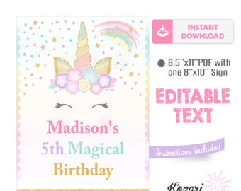 Editable Unicorn Party Sign, Unicorn Party, Unicorn Birthday, Instant Download