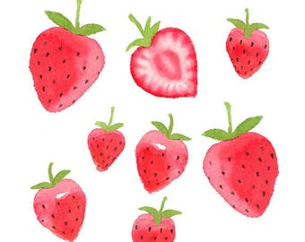 Watercolor Strawberries Clipart Set, Fruit, Food, Summer, Ripe, Juicy, Illustration