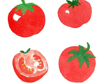 Watercolor Tomato Set, Cliparts, Vegetable, Food, Fresh, Summer, Juicy, Healthy, Organic, Agriculture, Illustration