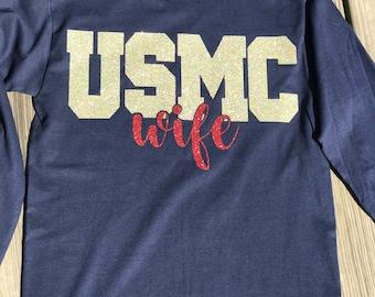 Marine wife, Navy Blue, long sleeve, Dress Blue's Inspired Tee
