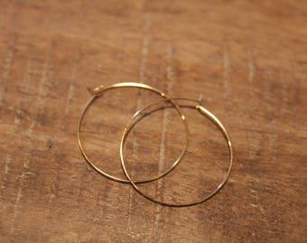 Small 30mm Gold Hoop Earrings | Thin Gold Hoop Earrings