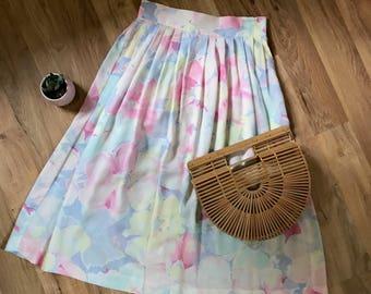Vintage highwaist pastel skirt / retro womens clothing