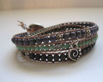 Leather wrap bracelet/Leather wrap bead bracelet/Boho wrap bracelet/Beaded leather wrap bracelet
