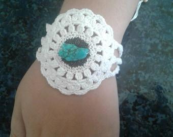 Boho Crocheted Beaded bracelet
