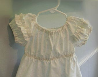 Infant Cotton Ruffled Peasant Top, Size 24 Months, White Polka Dots on White Background, Elastic Empire Waist, Summer Top