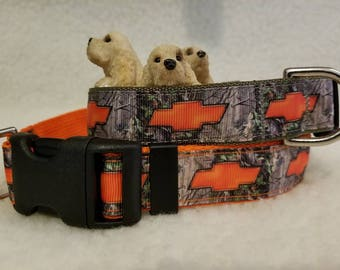 Orange/Camo Chevy Handmade Dog Collar 1 Inch Wide Large Or Medium / Matching Leash Available