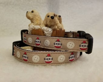 Sock Monkey Handmade Dog Collar 5/8 Inch Wide Medium Only