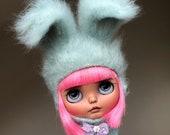 Mint extra fluffy Blythe bunny hat