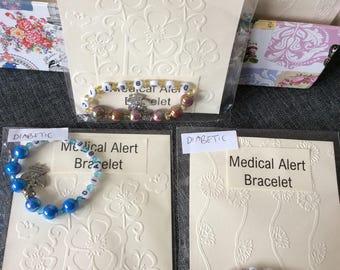 Medical alert bracelet. Diabetic.