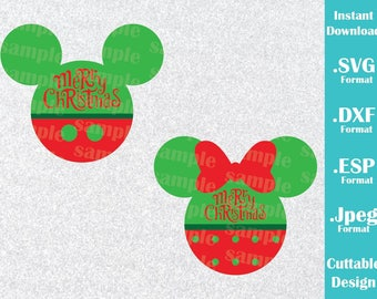 INSTANT DOWNLOAD SVG Disney Inspired Merry Christmas Minnie and Mickey Ears Cutting Machines Svg, Esp, Dxf and Jpeg Format Cricut Silhouette