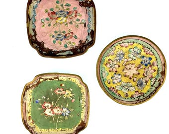 Set of distressed primarily green and yellow floral Chinese Cloisonné plates or dishes or ashtrays