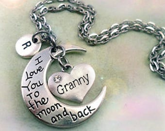 Granny I Love You to the Moon and Back Necklace Personalized w-Letter Charm, Granny Birthday Gift, Special Granny Gift, Grandmother Gift