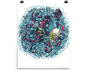 Drinking Kraken/Beer ,sea monster, ocean Poster