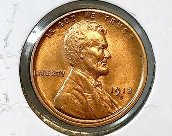 1918 S Lincoln Wheat Cent - Gem BU / MS RD / Unc