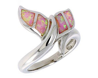 Sterling Silver Pink Opal Whale Tail Statement Ring
