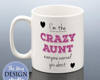 CRAZY AUNT MUG Auntie Birthday Mug Aunt Birthday Gift Aunt Cup Birthday Present Gift for her Auntie Gift Aunty Gift Coffee Mug Tea Mug