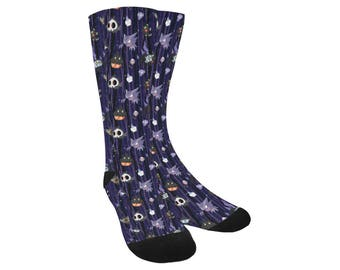 Spooky Pokemon Socks - Knee High Socks Ghost Pokemon Socks Scary Pokemon Socks Chandelure Ghastly Umbreon Cosplay Socks Ghost Socks
