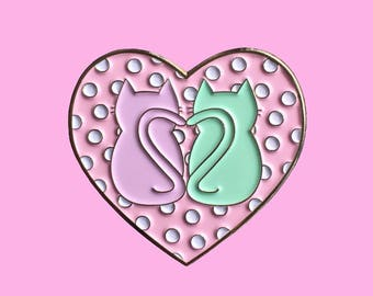 Kitties in Love Heart enamel pin