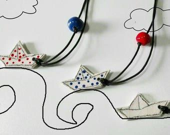 Ceramic boat necklace
