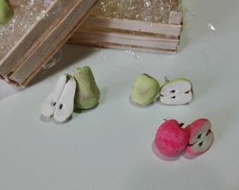 Apple earrings in polymer clay