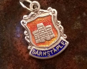 Barnstaple Devon England vintage sterling silver enamel travel shield charm necklace pendant or keychain charm