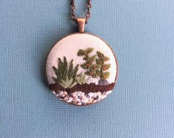 Terrarium 3 - hand embroidered pendant