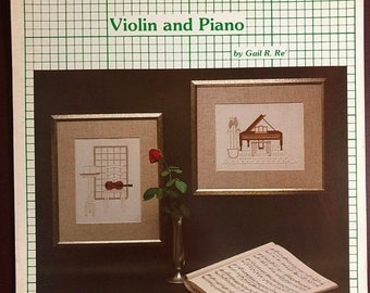 SPRINGSALE The Craft Menagerie, Vintage, Violin and Piano, Leaflet 10 Counted Cross Stitch, Pattern